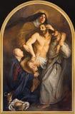 Η ζωγραφική symbolische της απόθεσης του σταυρού με τα carmelites sants ST Theresia και John του σταυρού στοκ εικόνες με δικαίωμα ελεύθερης χρήσης