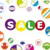 Η ζωηρόχρωμη άσπρη φοβιτσιάρης αφίσα πώλησης με τα εικονίδια κύκλων έθεσε για το κατάστημα eps10 έκπτωσης ελεύθερη απεικόνιση δικαιώματος