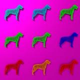 Η ζωηρόχρωμη απεικόνιση σκυλιών Στοκ Φωτογραφία
