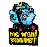 """Η ζωηρόχρωμη αυτοκόλλητη ετικέττα αποκριών κουλτούρα ποπ χιμπατζήδων πιθήκων Zombie """"εγώ θέλει BRAINNNS!!! """" απεικόνιση αποθεμάτων"""