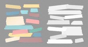 Η ζωηρόχρωμη και σχισμένη λευκό κολλώδης, συγκολλητική καλύπτοντας ταινία, λουρίδες εγγράφου σημειώσεων κόλλησε στο τακτοποιημένο απεικόνιση αποθεμάτων