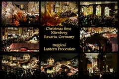Η ζωηρόχρωμη πομπή φαναριών στη Νυρεμβέργη, στο δρόμο του στο κάστρο κολάζ στοκ εικόνες