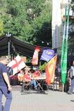 Η ζώνη ανεμιστήρων είναι τελικό του UEFA Champions League Πόλη του Κίεβου Ουκρανία Στοκ Φωτογραφίες