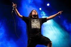 Η ζώνη μουσικής σκληρής ροκ Wormed αποδίδει στη συναυλία Download στο φεστιβάλ μουσικής βαρύ μετάλλου στοκ εικόνες
