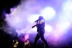 Η ζώνη μουσικής Bravo Porco αποδίδει στη συναυλία Download στο φεστιβάλ μουσικής βαρύ μετάλλου στοκ εικόνες