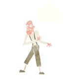 ηληκιωμένος κινούμενων σχεδίων που έχει την επίθεση καρδιών με τη σκεπτόμενη φυσαλίδα Στοκ φωτογραφία με δικαίωμα ελεύθερης χρήσης