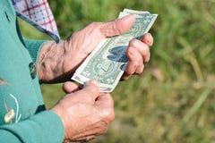 Η ηλικιωμένη γυναίκα κρατά τα χρήματα στα χέρια της Μια ηλικιωμένη γυναίκα με τα δολάρια στα χέρια της Ελεημοσύνες ένδειας Στοκ φωτογραφίες με δικαίωμα ελεύθερης χρήσης