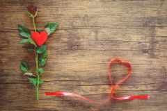 Η ημέρα βαλεντίνων κόκκινη αυξήθηκε λουλούδι στην ξύλινη κόκκινη καρδιά με τα τριαντάφυλλα και την κόκκινη καρδιά κορδελλών στο τ στοκ εικόνα