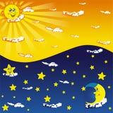 η ημέρα εύκολη επιμελείται τη νύχτα στο διάνυσμα ελεύθερη απεικόνιση δικαιώματος