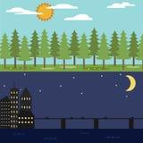 η ημέρα εύκολη επιμελείται τη νύχτα στο διάνυσμα Διανυσματική απεικόνιση