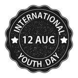 Η ημέρα νεολαίας Τυπωμένο κείμενο με την εξασθένιση στοιχείων Μια στρογγυλή σφραγίδα Σχεδιάστε το έμβλημα ή τη ευχετήρια κάρτα σα ελεύθερη απεικόνιση δικαιώματος