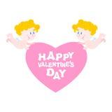 η ημέρα σύρει τον ευτυχή βαλεντίνο απεικόνισης s Δύο άγγελοι και καρδιά Σύμβολο της αγάπης διανυσματική απεικόνιση