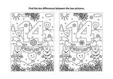 Η ημέρα του βαλεντίνου βρίσκει τον οπτικό γρίφο διαφορών και τη χρωματίζοντας σελίδα διανυσματική απεικόνιση