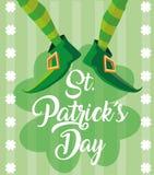 Η ημέρα του ST Πάτρικ και πληρώνει του leprechaun με τις μπότες διανυσματική απεικόνιση