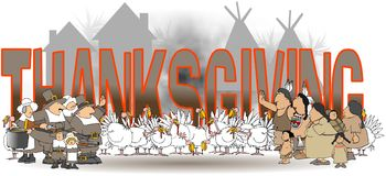 Η ημέρα των ευχαριστιών λέξης με τους αμερικανούς ιθαγενείς και τους προσκυνητές ελεύθερη απεικόνιση δικαιώματος
