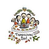 Η ημέρα των ευχαριστιών, οικογένεια έχει μαζί ένα γεύμα Σκίτσο για το σχέδιό σας ελεύθερη απεικόνιση δικαιώματος
