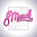 Η ημέρα των διεθνών γυναικών το Μάρτιο, 8η ευχετήρια κάρτα, απλό floral σχέδιο ελεύθερη απεικόνιση δικαιώματος
