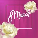 Η ημέρα των διεθνών γυναικών το Μάρτιο, 8η ευχετήρια κάρτα, απλό floral σχέδιο απεικόνιση αποθεμάτων