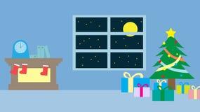 Η ημέρα των Χριστουγέννων εσωτερική με λίγο χριστουγεννιάτικο δέντρο και μερικά παρουσιάζει Στοκ Εικόνες