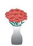 η ημερομηνία εορτασμού ανθοδεσμών ανθίζει τα κόκκινα τριαντάφυλλα μερικά Στοκ Φωτογραφία