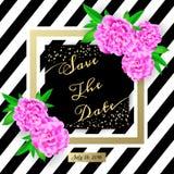η ημερομηνία σώζει Σύγχρονη κάρτα πρόσκλησης με τα λουλούδια Στοκ εικόνες με δικαίωμα ελεύθερης χρήσης