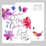 η ημερομηνία σώζει watercolor Στοκ εικόνα με δικαίωμα ελεύθερης χρήσης