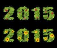 Η ημερομηνία το 2015 είναι ευθυγραμμισμένη με τα πράσινα φύλλα Στοκ εικόνα με δικαίωμα ελεύθερης χρήσης