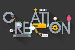 Η δημιουργία των δημιουργικών ιδεών creative process Παραγωγή, εγκαταστάσεις και δημιουργία, εφεύρεση και λύση ανάπτυξης ελεύθερη απεικόνιση δικαιώματος
