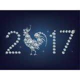 Η δημιουργική ευχετήρια κάρτα καλής χρονιάς το 2017 με τον κόκκορα αποτέλεσε πολλά διαμάντια Στοκ Φωτογραφία