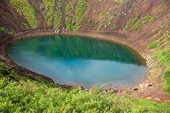 Η ηφαιστειακή λίμνη κρατήρων Kerið κάλεσε επίσης Kerid ή τη Kerith στη νότια Ισλανδία στοκ φωτογραφίες