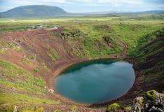 Η ηφαιστειακή λίμνη κρατήρων Kerið κάλεσε επίσης Kerid ή τη Kerith στη νότια Ισλανδία στοκ εικόνες