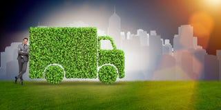 Η ηλεκτρική έννοια αυτοκινήτων στην πράσινη έννοια περιβάλλοντος Στοκ Φωτογραφίες