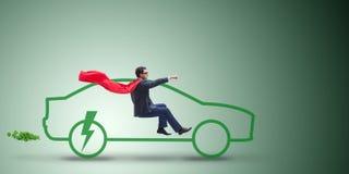 Η ηλεκτρική έννοια αυτοκινήτων στην πράσινη έννοια περιβάλλοντος Στοκ Φωτογραφία