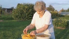 Η ηλικιωμένη δεκαετία του '80 γυναικών καθαρίζει chanterelle τα μανιτάρια απόθεμα βίντεο