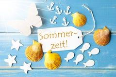Η ηλιόλουστη θερινή ευχετήρια κάρτα με Sommerzeit σημαίνει το καλοκαίρι Στοκ Εικόνα
