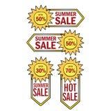 Η θερινή πώληση προετοιμάζει το έμβλημα προτύπων διανυσματική απεικόνιση