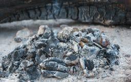 Η θερμότητα από το μμένο ξύλο συνδέεται την εστία σε ένα πικ-νίκ Στοκ Εικόνες