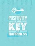 Η θετική σκέψη είναι το κλειδί στην ευτυχία Χαριτωμένο απόσπασμα κινήτρου Διανυσματική σημαντική έννοια αφισών τυπογραφίας ελεύθερη απεικόνιση δικαιώματος