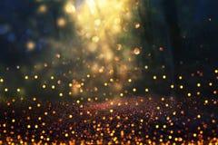 Η θολωμένη αφηρημένη φωτογραφία του φωτός εξερράγη μεταξύ των δέντρων και ακτινοβολεί χρυσά φω'τα bokeh Στοκ Εικόνες