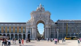 Η θριαμβευτική αψίδα Rua Αουγκούστα, Arco Triunfal DA Rua Αουγκούστα στο κέντρο πόλεων της Λισσαβώνας, Πορτογαλία Στοκ φωτογραφία με δικαίωμα ελεύθερης χρήσης