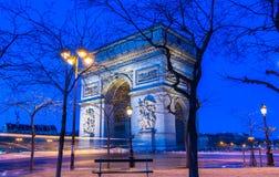 Η θριαμβευτική αψίδα τη νύχτα, Παρίσι, Γαλλία Στοκ Φωτογραφίες