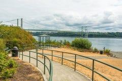 Η διάβαση στο πάρκο στενεύει μέσα την περιοχή γεφυρών χάλυβα στο Τακόμα, Ουάσιγκτον, ΗΠΑ Στοκ εικόνα με δικαίωμα ελεύθερης χρήσης