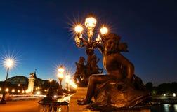Η διάσημη γέφυρα Alexandre ΙΙΙ τη νύχτα, Παρίσι, Γαλλία Στοκ φωτογραφίες με δικαίωμα ελεύθερης χρήσης