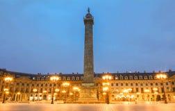 Η διάσημη στήλη Vendome τη νύχτα, Παρίσι, Γαλλία Στοκ Φωτογραφίες