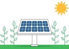 Ηλιακή ενέργεια cocept με το ηλεκτρικό ηλιακό πλαίσιο και τις πράσινες εγκαταστάσεις Στοκ Φωτογραφίες