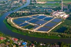 Ηλιακή εναέρια άποψη αγροτικών ηλιακών πλαισίων Στοκ φωτογραφία με δικαίωμα ελεύθερης χρήσης