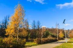 Ηλιακή ισχύς της μπαταρίας ένας ηλεκτρικός λαμπτήρας στο πάρκο Στοκ εικόνες με δικαίωμα ελεύθερης χρήσης