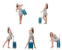 Η διακινούμενη γυναίκα με τη βαλίτσα που απομονώνεται στο λευκό Στοκ εικόνα με δικαίωμα ελεύθερης χρήσης