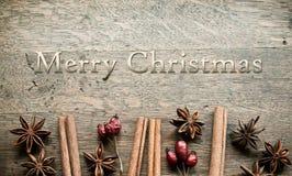Η διακοσμητικά κανέλα και το σκυλί γλυκάνισου καρτών Χαρούμενα Χριστούγεννας αυξήθηκαν Στοκ Εικόνες