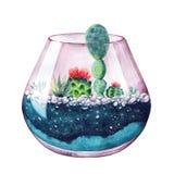 η διακοσμητική εικόνα απεικόνισης πετάγματος ραμφών το κομμάτι εγγράφου της καταπίνει το watercolor Σύνθεση των succulents Floral Στοκ Φωτογραφία